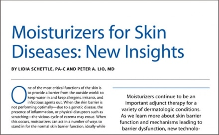 Moisturizers for Skin Diseases: New Insights